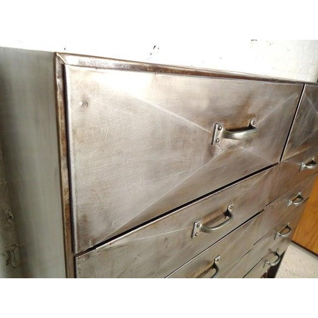 Industrial Industrial Ten-Drawer Metal Cabinet For Sale - Image 3 of 9