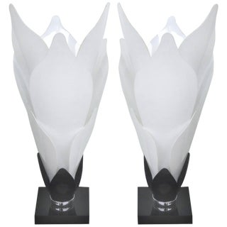 Sculptural Lucite Petals Table Lamps - a Pair For Sale