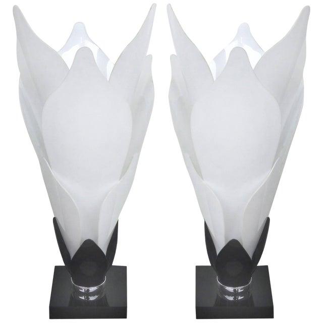 Sculptural Lucite Petals Table Lamps - a Pair For Sale
