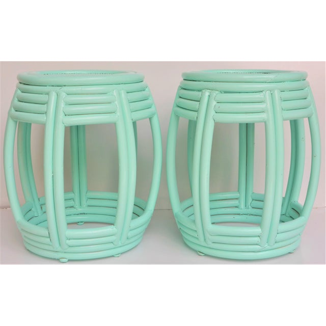 Handwoven Rattan Painted Barrel Tables / Stools - a Pair For Sale - Image 4 of 7