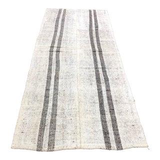 1960s Vintage Organic Wool Aztec Turkish Handmade Striped Decorative Kilim Rug- 3′8″ × 9′4″ For Sale
