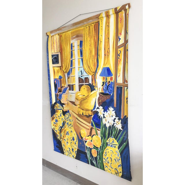 Cheerful French Salon Scene in Blue & Yellow - Image 6 of 10