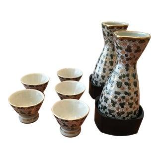 Japanese Floral & Gold Acccent Sake Set For Sale