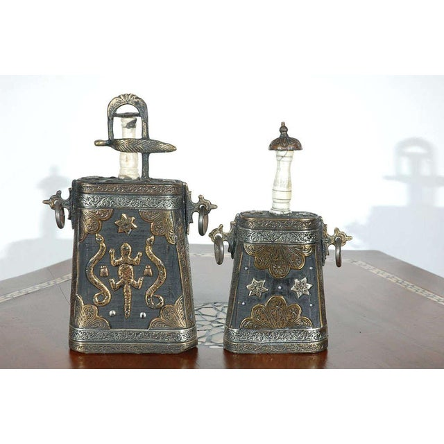 Metal Set of Two Moroccan Antique Tribal Gun Powder Case Flask For Sale - Image 7 of 9