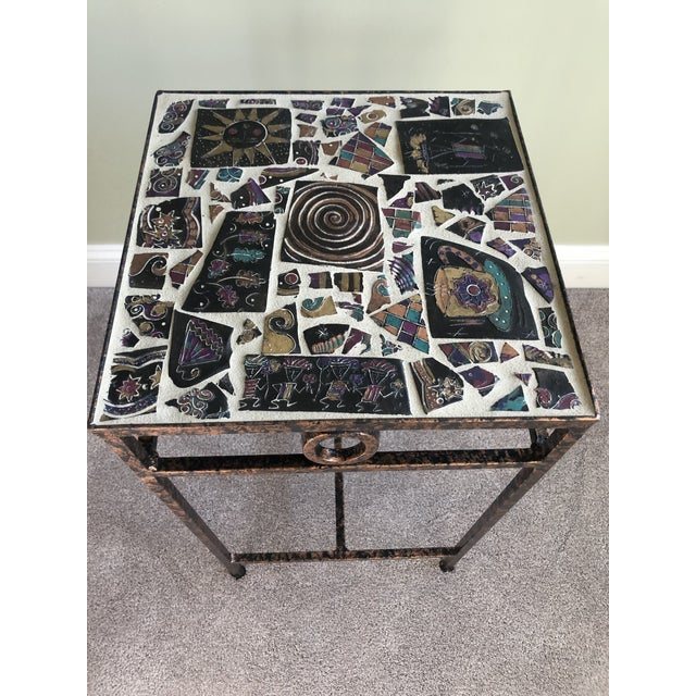 Side table hand crafted inland slate tiles with copper & black base! Great for night stand or accent table.