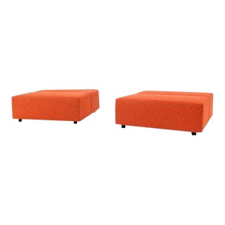 Vintage Mid Century Steelcase Orange Upholstery Square Benches- a Pair For Sale