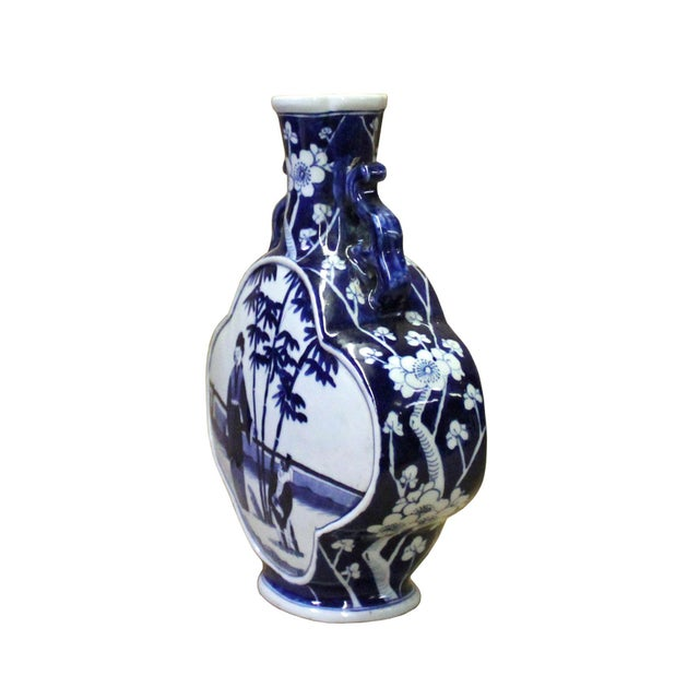 Chinese Blue White Porcelain People Theme Flower Shape Vase For Sale In San Francisco - Image 6 of 7