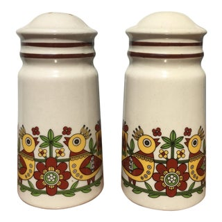 Scandinavian Bird Pattern Salt & Pepper Shakers - A Pair For Sale
