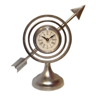 Silver Decorative Clock For Sale
