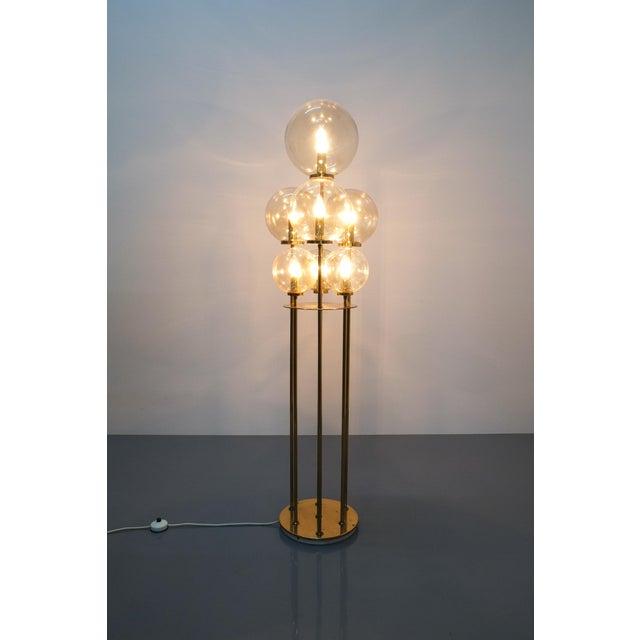 Brass Glashütte Limburg Brass Glass Floor Lamp, Germany 1960 For Sale - Image 7 of 10