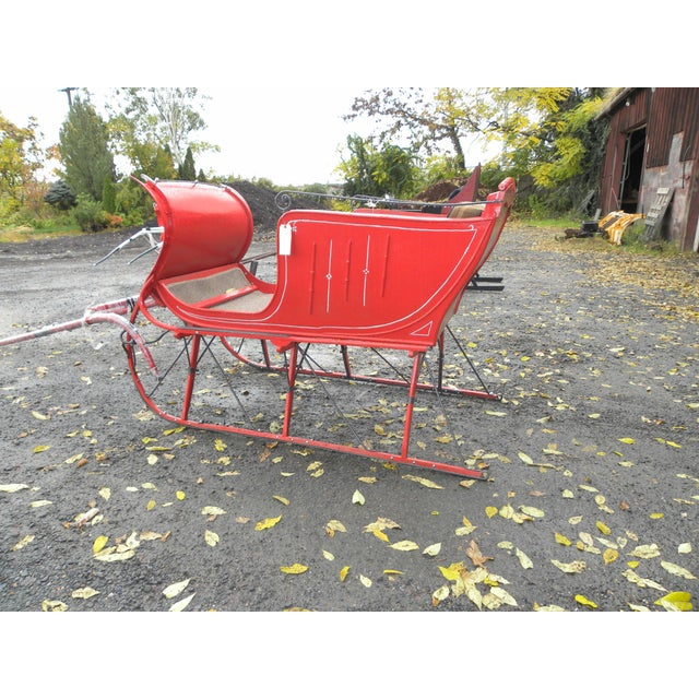 Interior Design Antique Holiday Sleigh Red Sled - Image 6 of 10