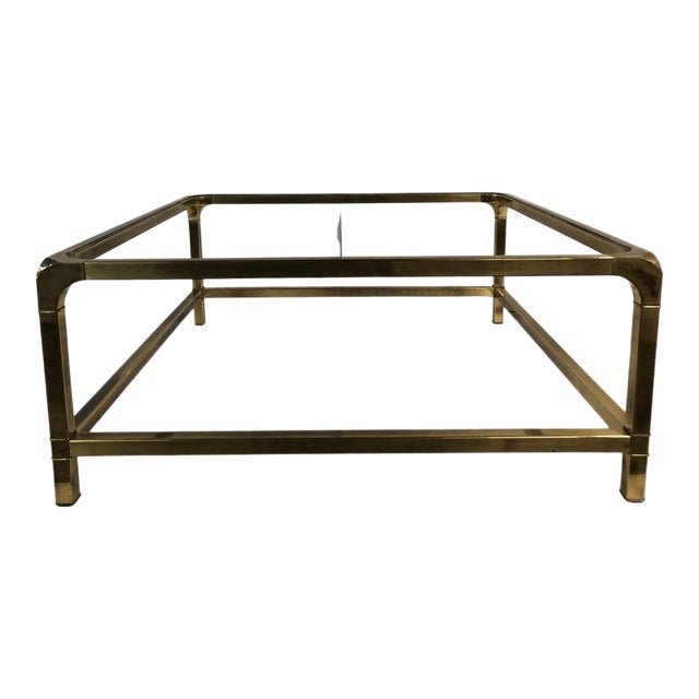 1960s Modern Mastercraft Brass Coffee Table With Glass Top For Sale