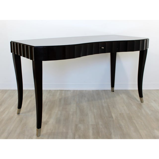 Paint Contemporary Modernist Barbara Barry for Baker Black Lacquer Vanity Desk For Sale - Image 7 of 7