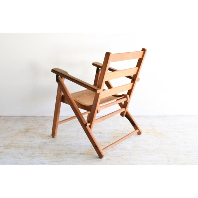 Vintage Child's Folding Wooden Deck or Lawn Chair For Sale - Image 4 of 6