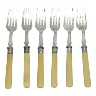 D. 1904 Walker & Hall Sterling Silver Forks, Set of 6 For Sale