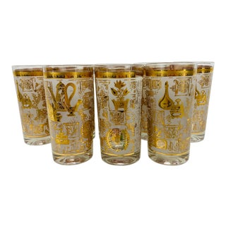1950s 24Kt. Gold Barware Highballs, Set of 8 For Sale