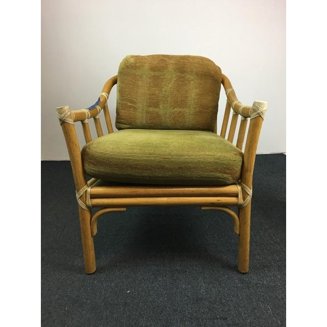 Vintage Bamboo Armchairs & Ottoman - Set of 3 - Image 3 of 9