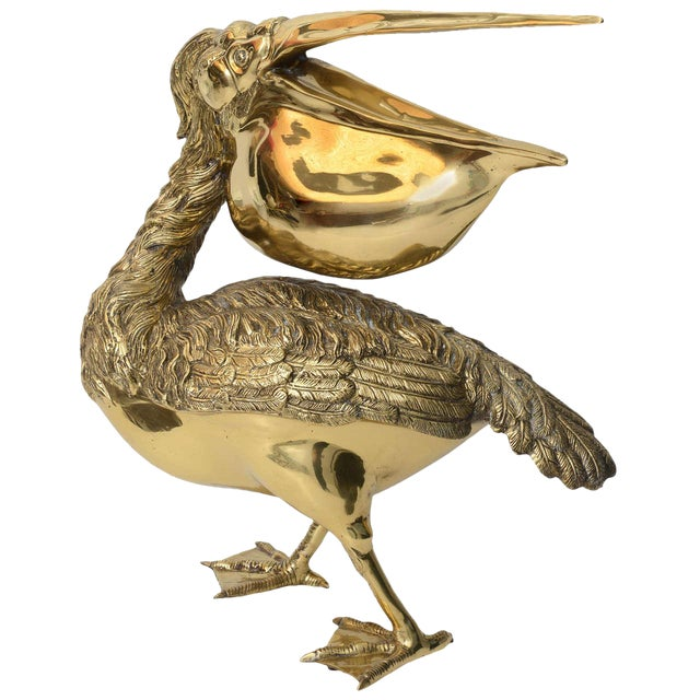 Hollywood Regency Style Cast Brass Sculpture of a Pelican, Italy, 1960s For Sale