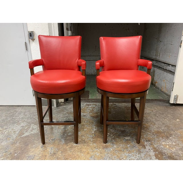 Wheeler Design Group Custom Leather Swivel Bar Stools - a Pair For Sale - Image 11 of 11