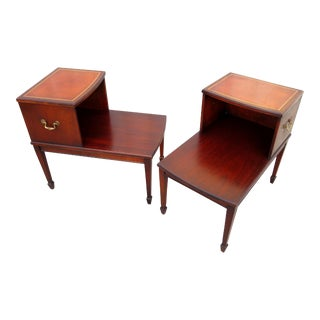 Vintage Henredon Heritage Regency Style Tiered Leather & Mahogany Library Side Tables - a Pair For Sale