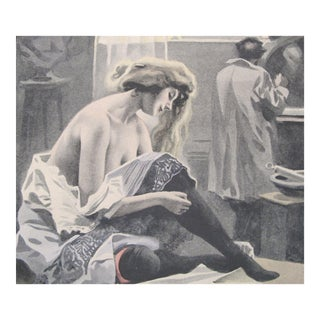 1900's Original Vintage French Boudoir Lithograph (Plate 4) For Sale