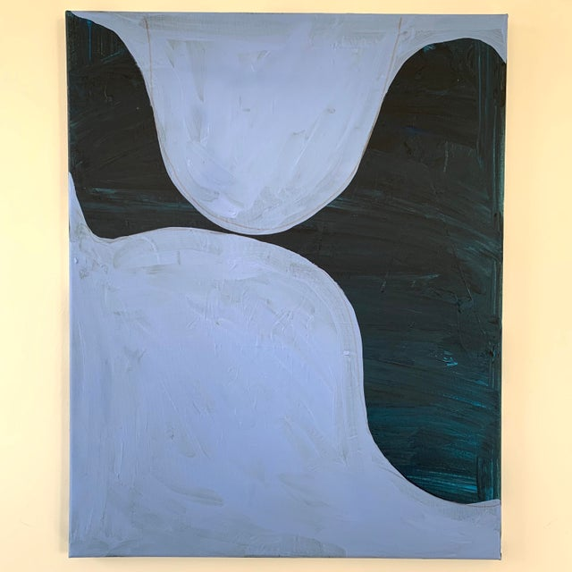 Modern Blue Oil on Canvas Painting For Sale - Image 4 of 4