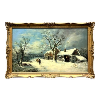 Charles Leaver, 19th Century Oil on Canvas Wintry Village Scene Painting For Sale