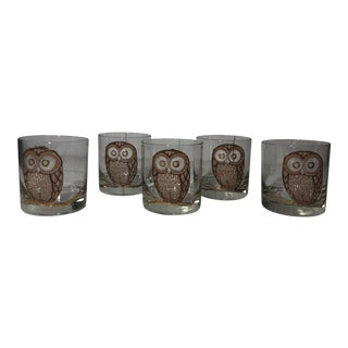 Georges Briard Owl Gold Metallic Lowball Glasses - Set of 5 For Sale