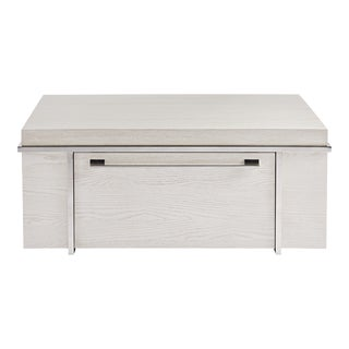 Transitional Parade Storage Cocktail Table, Ivory For Sale