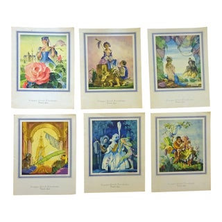 1970s Vintage The French Line Paque Boat Menu Water Color Drawings- Set of 6 For Sale