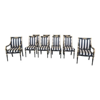 Ej Victor NeoClassical Black & Gold Dining Room Chairs- Set of 10 For Sale