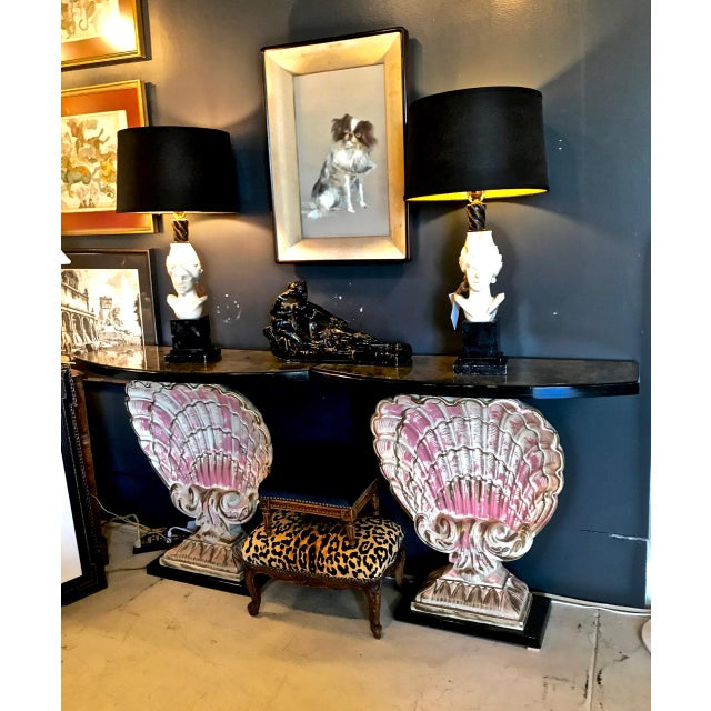 Metal Hollywood Regency Shell Consoles - a Pair For Sale - Image 7 of 8