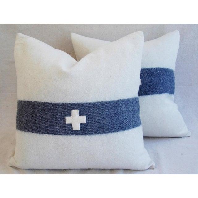Nautical White & Blue Stripe Wool & Linen Pillows - a Pair - Image 6 of 10