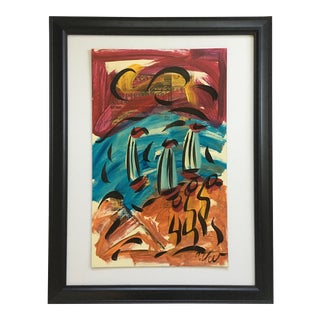 1980s Peter Keil Abstract Painting, Framed For Sale