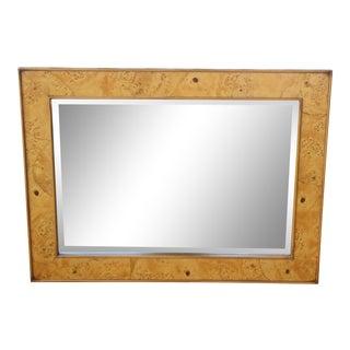 1960s Milo Baughman-Style Italian Burl Wood Wall Mirror For Sale