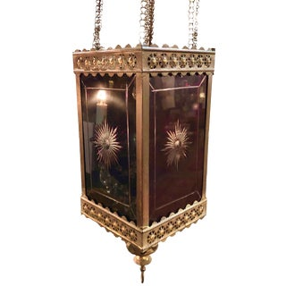 Victorian Brass and Cut Ruby Glass Hanging Lantern Light For Sale