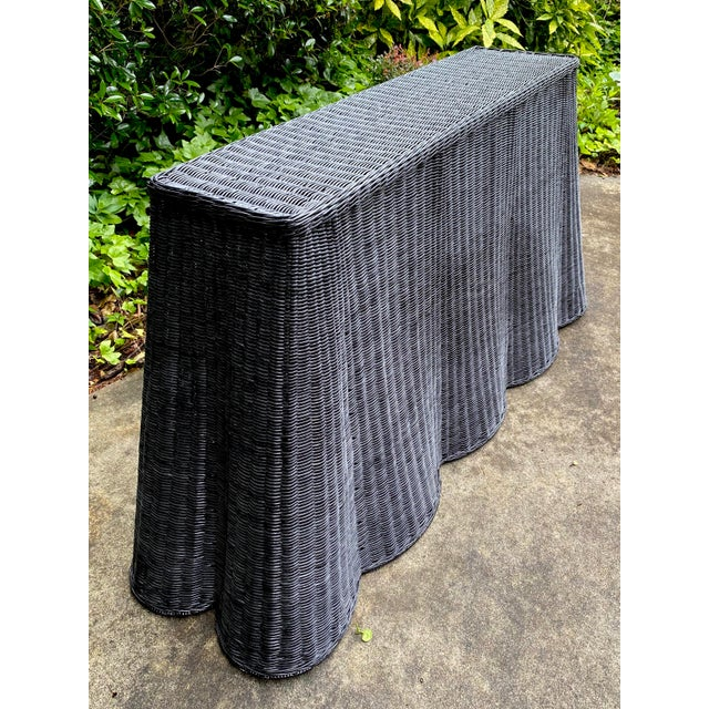 Mid-Century Modern Natural Rattan Trompe l'Oeil Console Tables in Black For Sale - Image 3 of 13