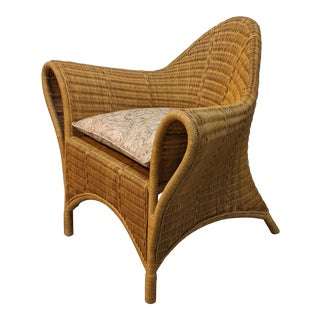 Kristian Gauville Postmodern Cane Lounge Chair For Sale