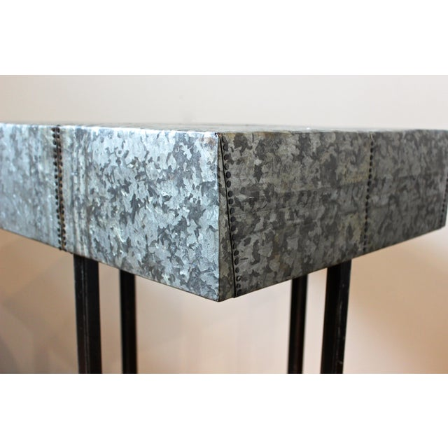 Rustic Nail Detail Metal Table For Sale - Image 4 of 6