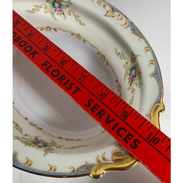 White Antique Empress China Gold Accented Blue Floral Trim Serving Pieces - Set of 5 22k Gold Trim Victorian Style For Sale - Image 8 of 13