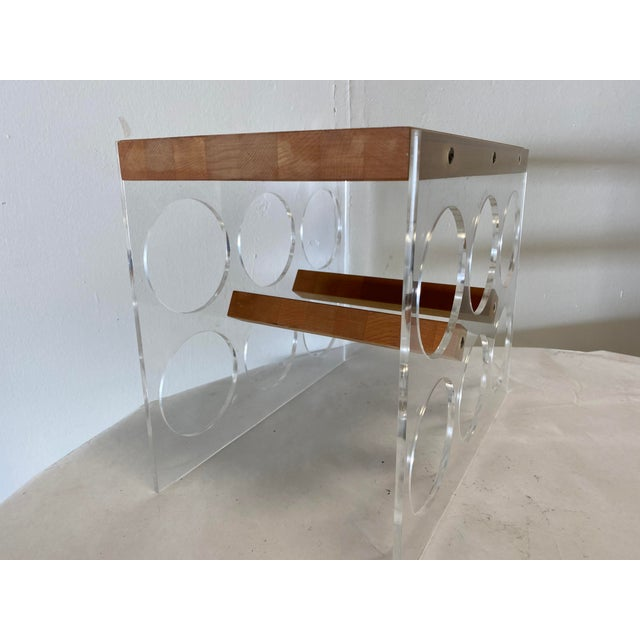 Mid-Century Lucite and Butcher Block combination Wine holder and cheese board.