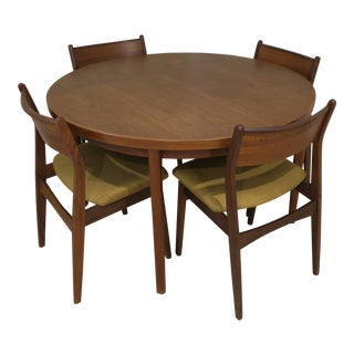 Mid Century Vejle Stole Og Mobelfabrik Denmark Table Chairs- 5 Pieces For Sale