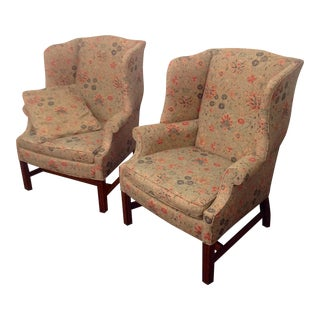 Hepplewhite Wing Chairs With Ralph Lauren Fabric - A Pair
