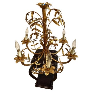 Gold Leafed Faux Bamboo Chandelier For Sale