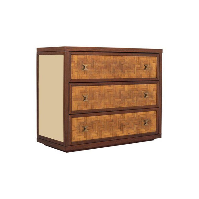 Hollywood Regency Italian Glam Sideboard in Rattan, Teak and Brass, 1970s For Sale - Image 3 of 8
