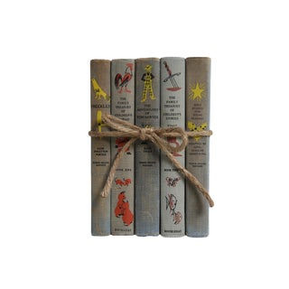 Vintage Book Gift Set: Weathered Grey Children's Stories, S/5 For Sale