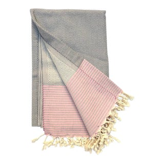 Turkish Tamam Pink + Grey Checkers + Stripes Handwoven Cotton Towel For Sale