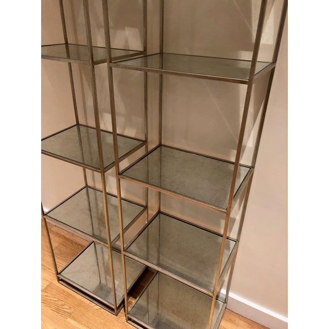2 shelves purchased from Lillian August in New York. Made of steel with antique finish and mirrored glass trays.