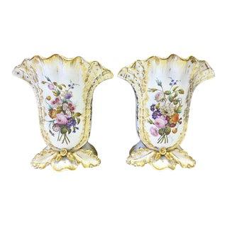 Antique French Porcelain Gilt Oak Leaf Vases - A Pair For Sale