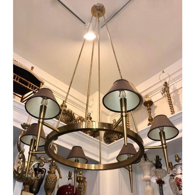 BOYD Lighting Boyd Lighting Brushed Brass Modern Wagon Wheel 6 Light Chandelier For Sale - Image 4 of 5